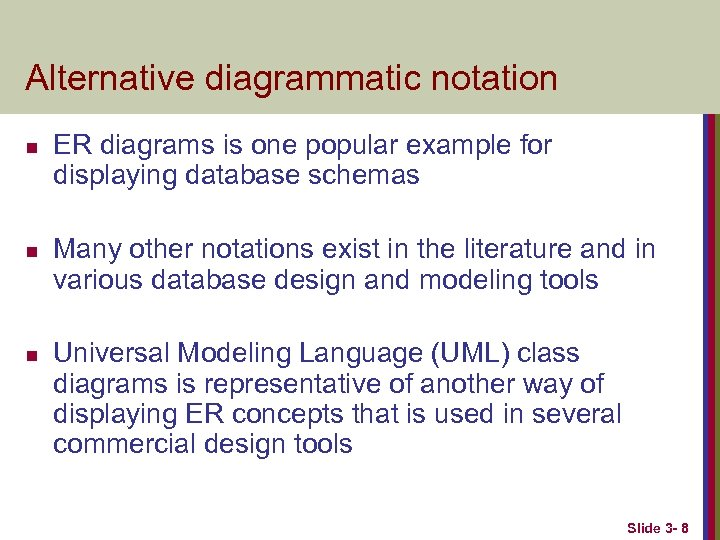 Alternative diagrammatic notation n ER diagrams is one popular example for displaying database schemas