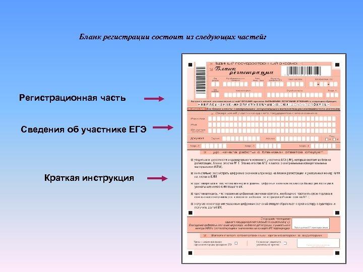 Бланк регистрации состоит из следующих частей: Регистрационная часть Сведения об участнике ЕГЭ Краткая