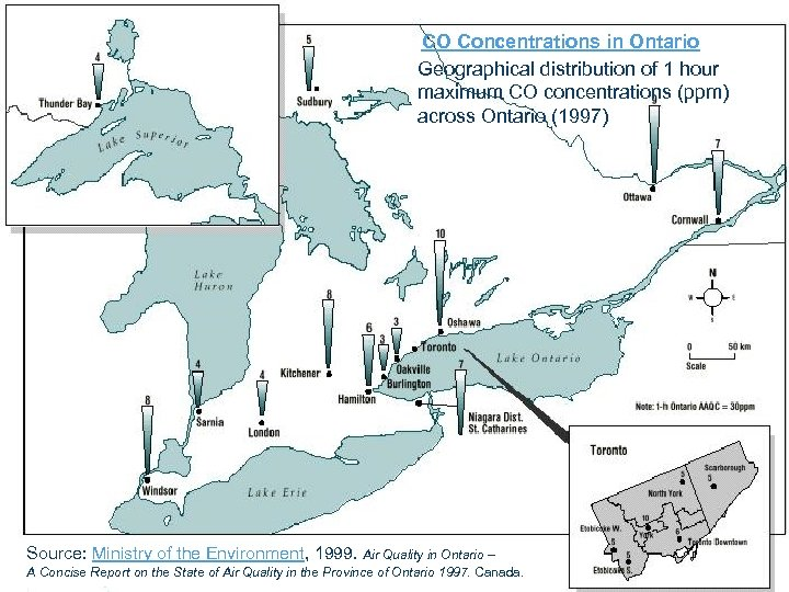 CO Concentrations in Ontario Geographical distribution of 1 hour maximum CO concentrations (ppm) across