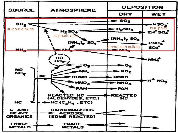 bisulphite sulphur dioxide sulphuric acid ammonium sulfate
