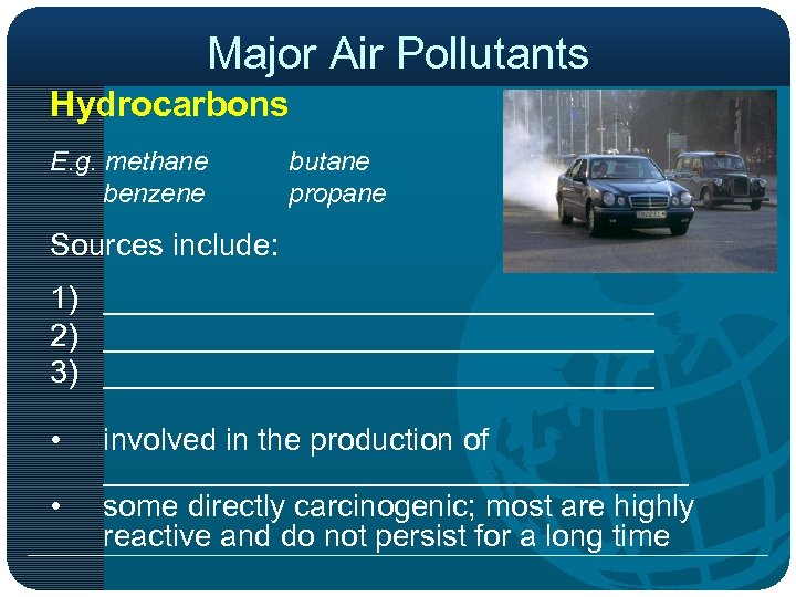 Major Air Pollutants Hydrocarbons E. g. methane benzene butane propane Sources include: 1) ________________