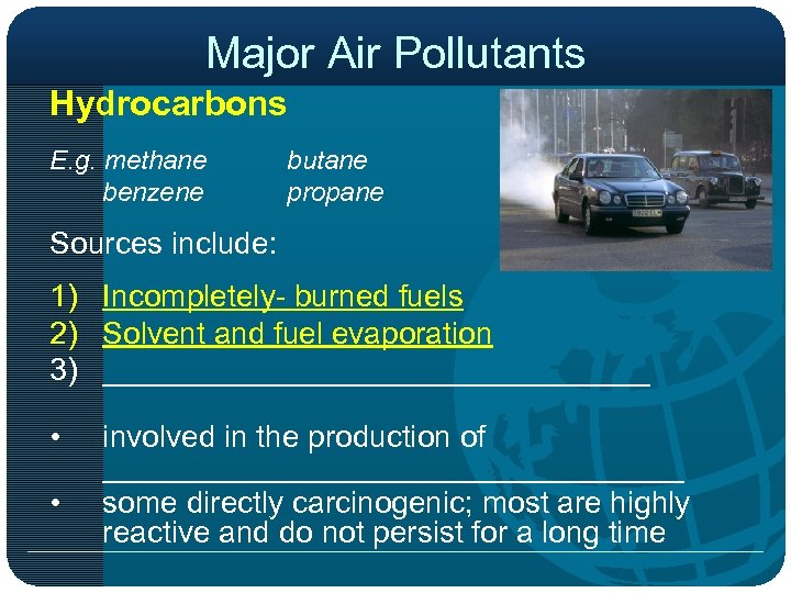 Major Air Pollutants Hydrocarbons E. g. methane benzene butane propane Sources include: 1) Incompletely-