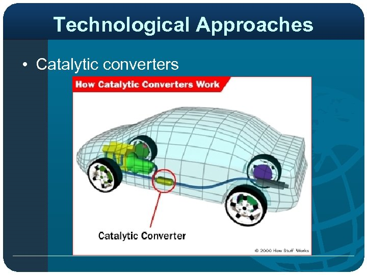 Technological Approaches • Catalytic converters http: //static. howstuffworks. com/gif/ catalytic-converter-location. jpg