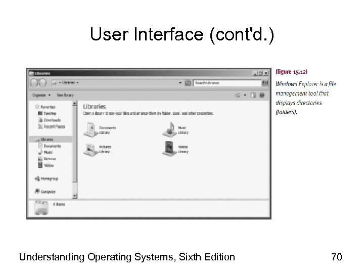 User Interface (cont'd. ) Understanding Operating Systems, Sixth Edition 70