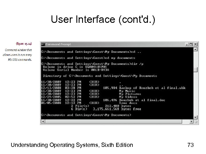 User Interface (cont'd. ) Understanding Operating Systems, Sixth Edition 73