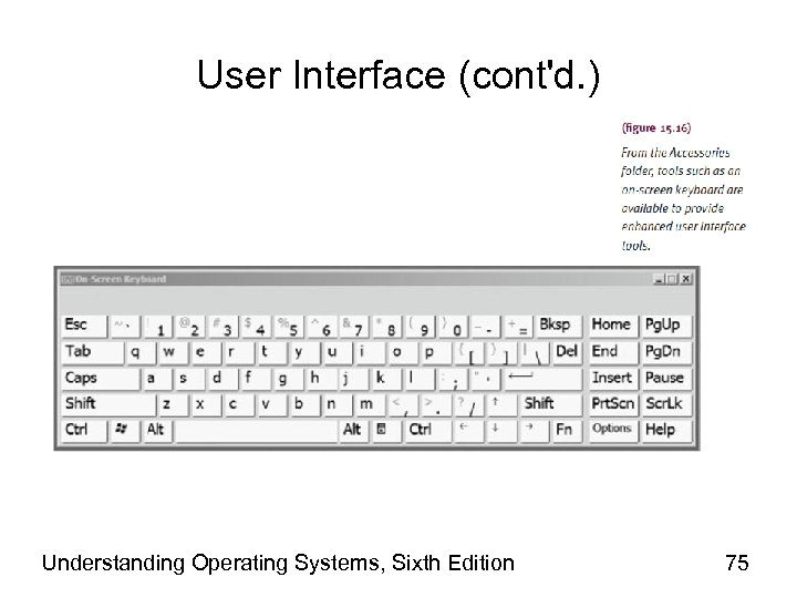 User Interface (cont'd. ) Understanding Operating Systems, Sixth Edition 75