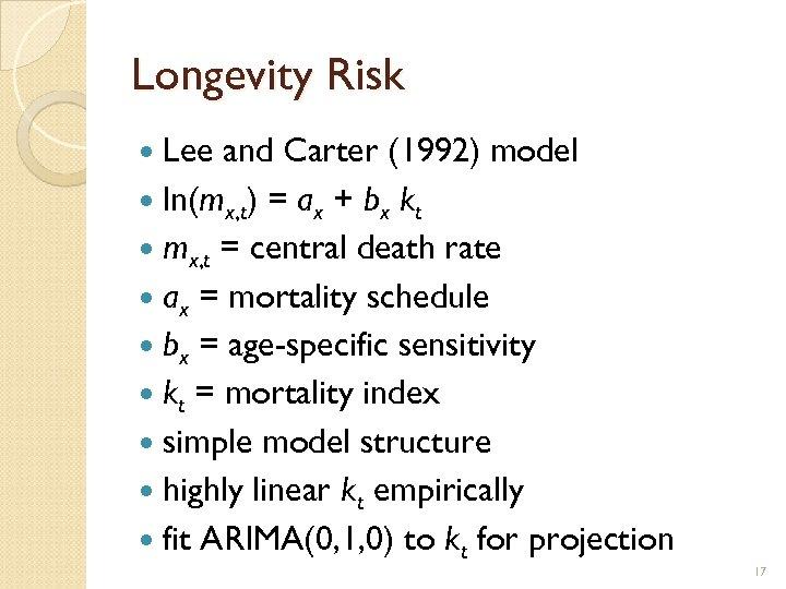 Longevity Risk Lee and Carter (1992) model ln(mx, t) = ax + bx kt