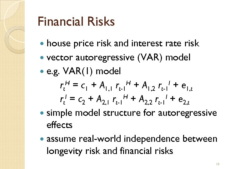 Financial Risks house price risk and interest rate risk vector autoregressive (VAR) model e.