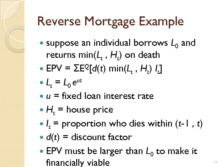 Reverse Mortgage Example suppose an individual borrows L 0 and returns min(Lt , Ht)