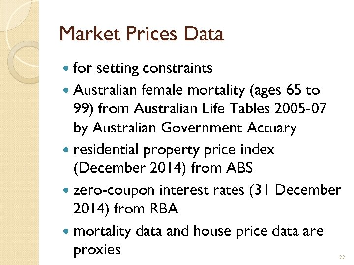 Market Prices Data for setting constraints Australian female mortality (ages 65 to 99) from