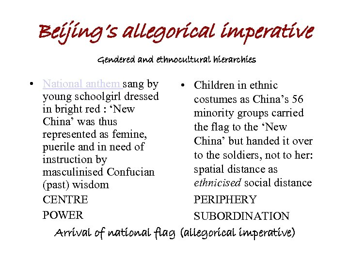 Beijing's allegorical imperative Gendered and ethnocultural hierarchies • National anthem sang by • Children