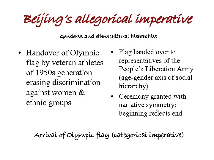 Beijing's allegorical imperative Gendered and ethnocultural hierarchies • Handover of Olympic • Flag handed