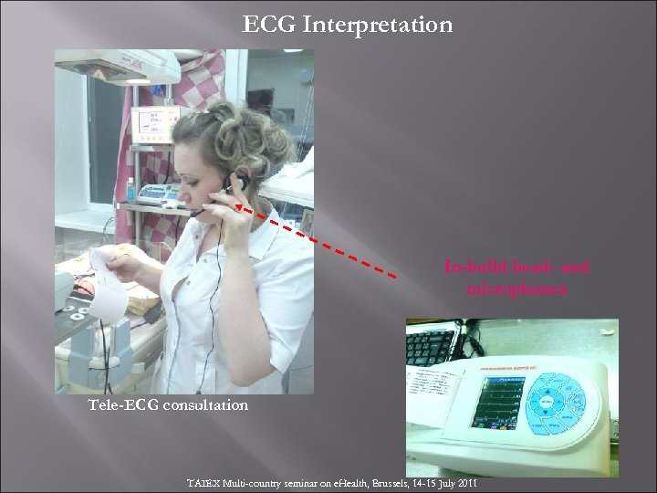 ECG Interpretation In-build head- and microphones Tele-ECG consultation TAIEX Multi-country seminar on e. Health,