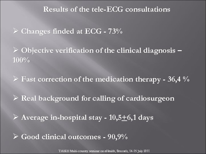 Results of the tele-ECG consultations Ø Changes finded at ECG - 73% Ø Objective