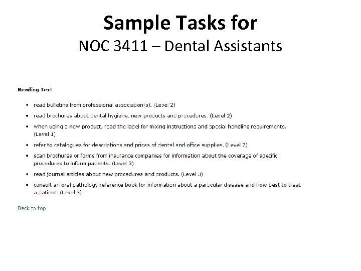 Sample Tasks for NOC 3411 – Dental Assistants