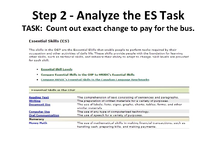 Step 2 - Analyze the ES Task TASK: Count out exact change to pay