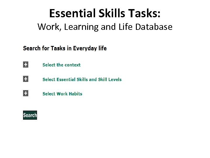 Essential Skills Tasks: Work, Learning and Life Database