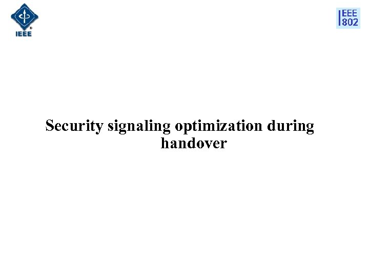 Security signaling optimization during handover