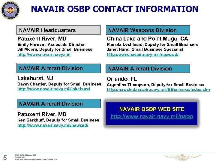 NAVAIR OSBP CONTACT INFORMATION NAVAIR Headquarters NAVAIR Weapons Division Patuxent River, MD China Lake