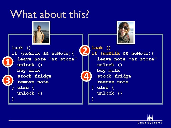 What about this? 1 3 lock () if (no. Milk && no. Note){ leave
