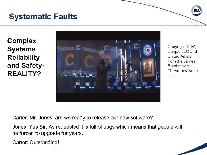 Systematic Faults Complex Systems Reliability and Safety. REALITY? Copyright 1997, Danjaq LLC and United