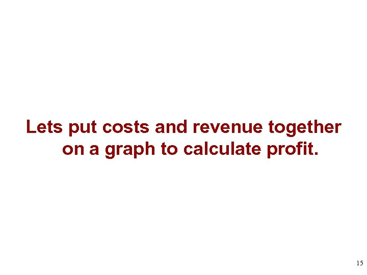 Lets put costs and revenue together on a graph to calculate profit. 15