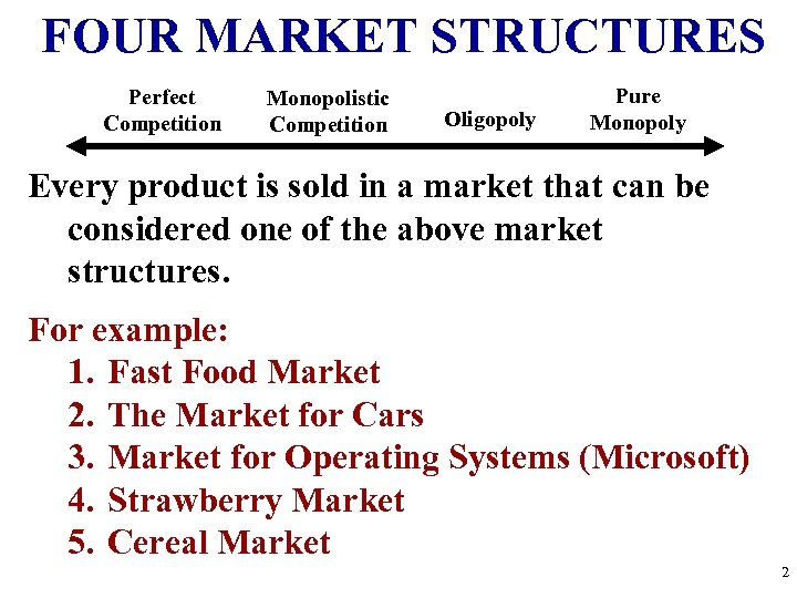 FOUR MARKET STRUCTURES Perfect Competition Monopolistic Competition Oligopoly Pure Monopoly Every product is sold