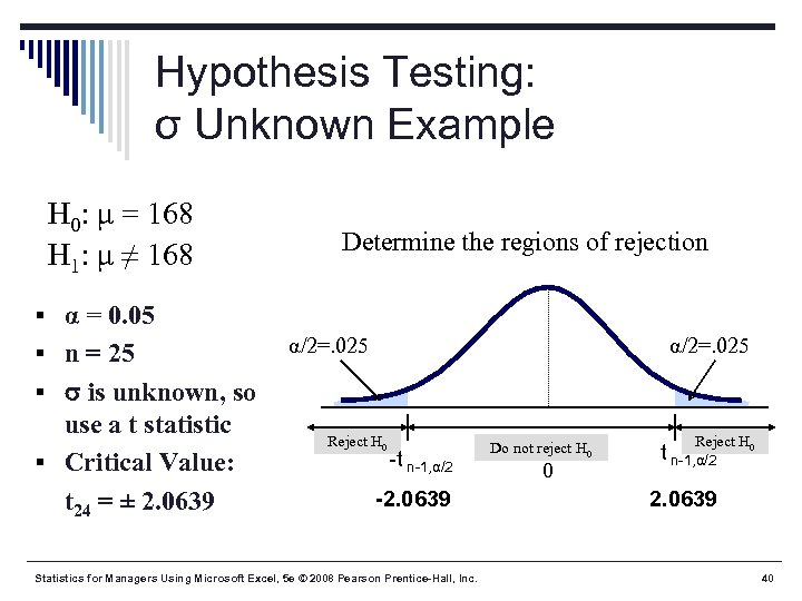 Hypothesis Testing: σ Unknown Example H 0: μ = 168 H 1: μ ≠