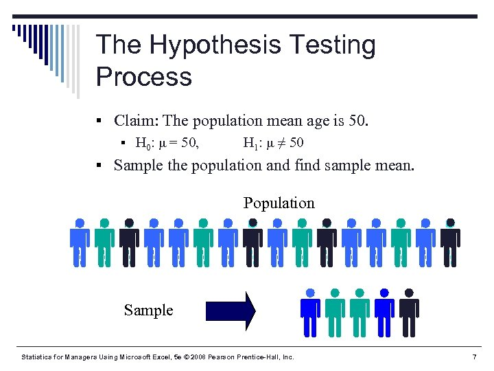 The Hypothesis Testing Process § Claim: The population mean age is 50. § H