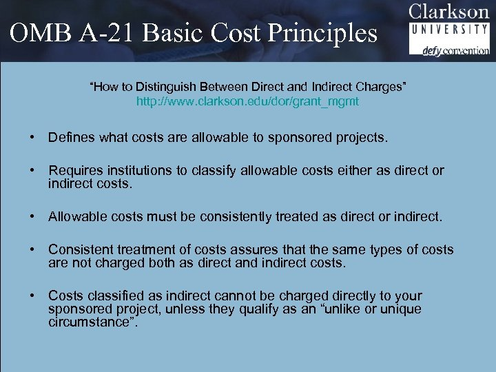 """OMB A-21 Basic Cost Principles """"How to Distinguish Between Direct and Indirect Charges"""" http:"""