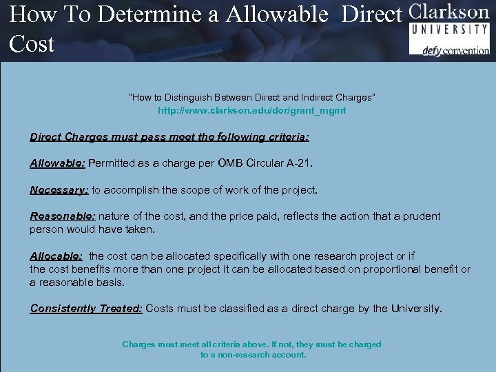 """How To Determine a Allowable Direct Cost """"How to Distinguish Between Direct and Indirect"""