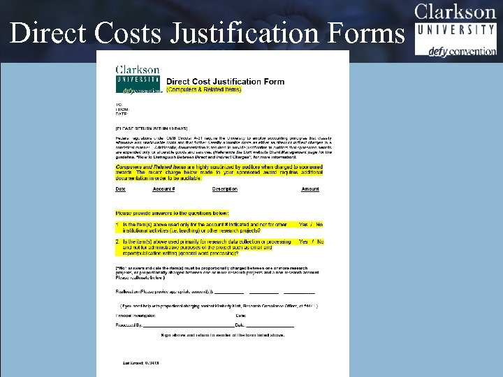 Direct Costs Justification Forms