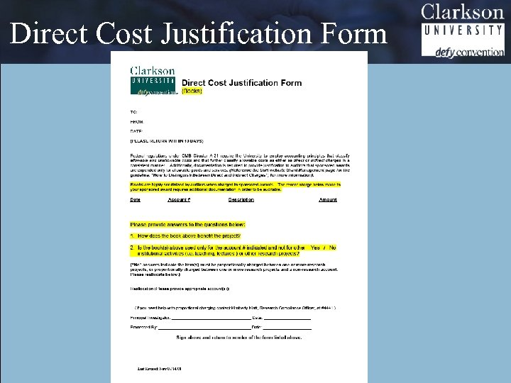Direct Cost Justification Form