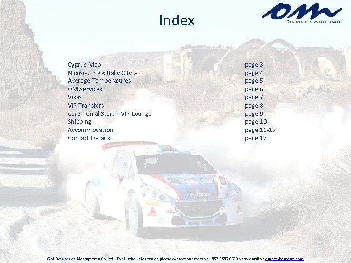 Index Cyprus Map Nicosia, the « Rally City » Average Temperatures OM Services Visas