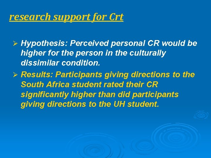 research support for Crt Ø Hypothesis: Perceived personal CR would be higher for the
