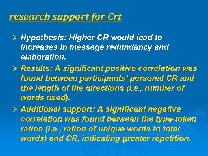research support for Crt Ø Hypothesis: Higher CR would lead to increases in message