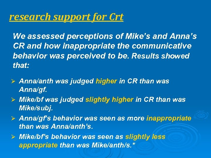 research support for Crt We assessed perceptions of Mike's and Anna's CR and how