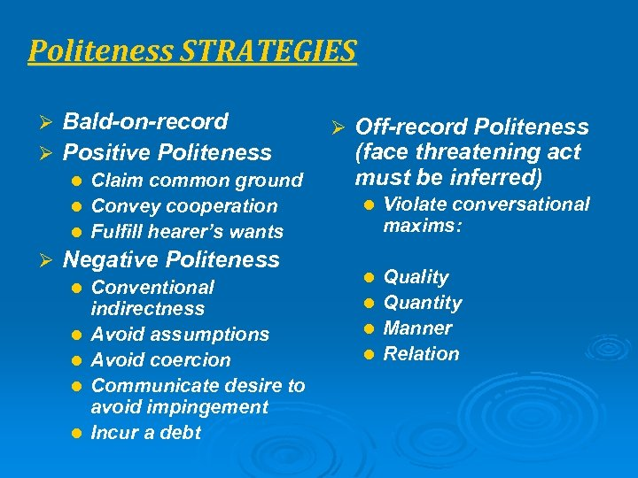 Politeness STRATEGIES Ø Bald-on-record Ø Positive Politeness l Claim common ground l Convey cooperation