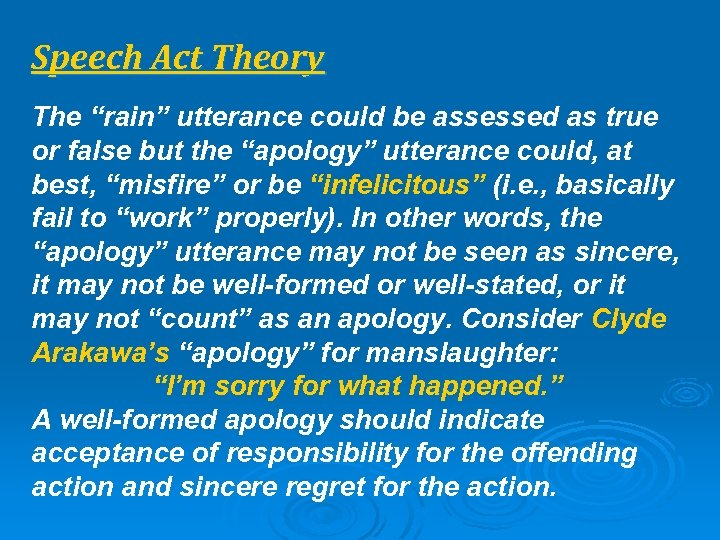 "Speech Act Theory The ""rain"" utterance could be assessed as true or false but"