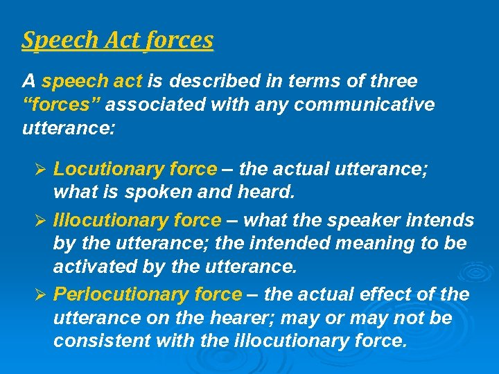 "Speech Act forces A speech act is described in terms of three ""forces"" associated"