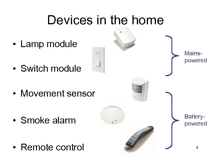 Devices in the home • Lamp module • Switch module Mainspowered • Movement sensor