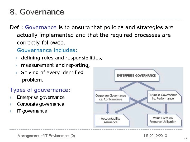 8. Governance Def. : Governance is to ensure that policies and strategies are actually