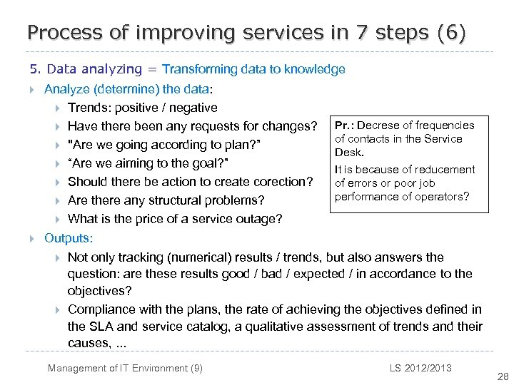 Process of improving services in 7 steps (6) 5. Data analyzing = Transforming data
