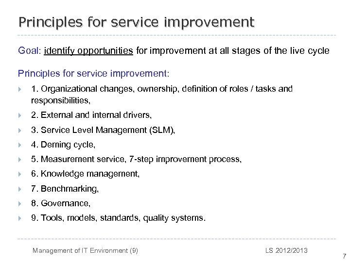 Management of IT Environment 9 Riadenie IT prostredia