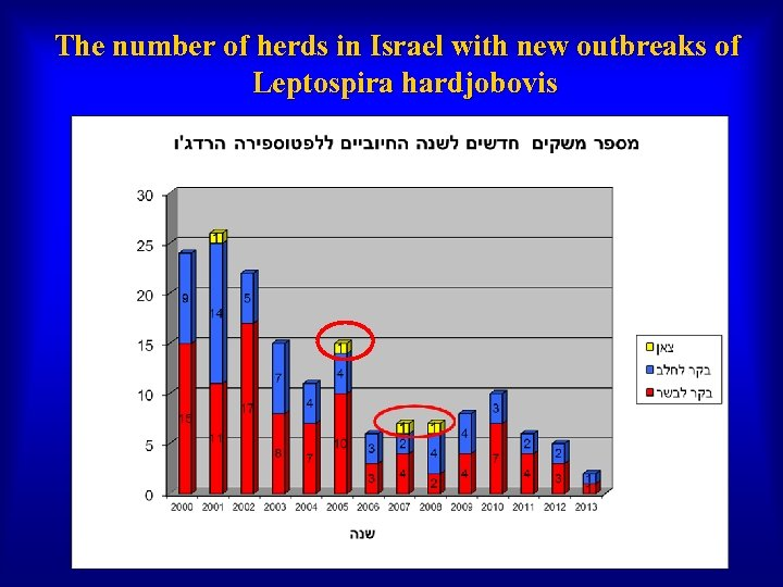 The number of herds in Israel with new outbreaks of Leptospira hardjobovis