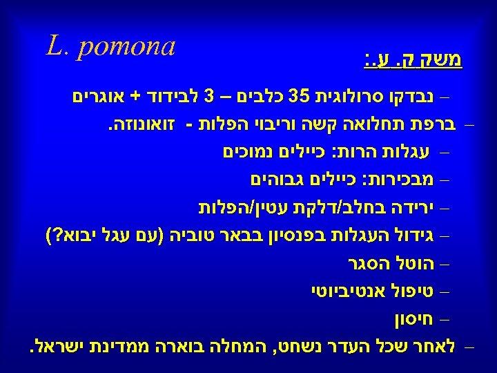 משק ק. ע. : L. pomona – נבדקו סרולוגית 53 כלבים – 3