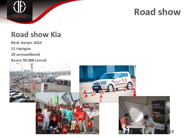 Road show Kia Май- Август 2010 13 городов 20 автомобилей Более 50 000 гостей