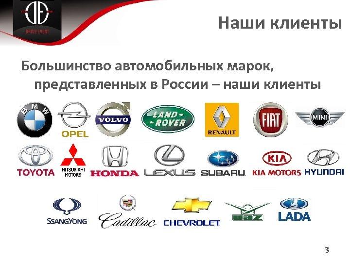 Наши клиенты Большинство автомобильных марок, представленных в России – наши клиенты 3