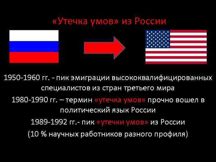 «Утечка умов» из России 1950 -1960 гг. - пик эмиграции высококвалифицированных специалистов из
