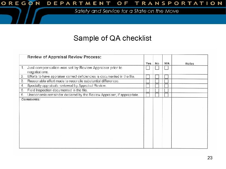 Safety and Service for a State on the Move Sample of QA checklist 23